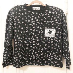Vintage Mam'selle black floral top deadstock
